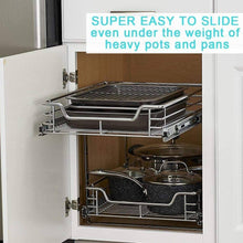 Load image into Gallery viewer, Shop evergohome roll out kitchen cabinet organizer adjustable chrome pull out cabinet organizer heavy duty side mount single sliding shelf suitable for 20 inches wide kitchen cabinet external