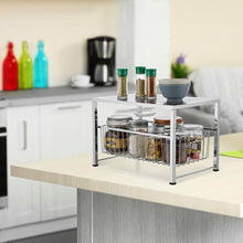 Load image into Gallery viewer, Heavy duty bextsware cabinet basket organizer with wire grid sliding drawer multi function stackable mesh storage organizer for kitchen counter desktop under sinksilver