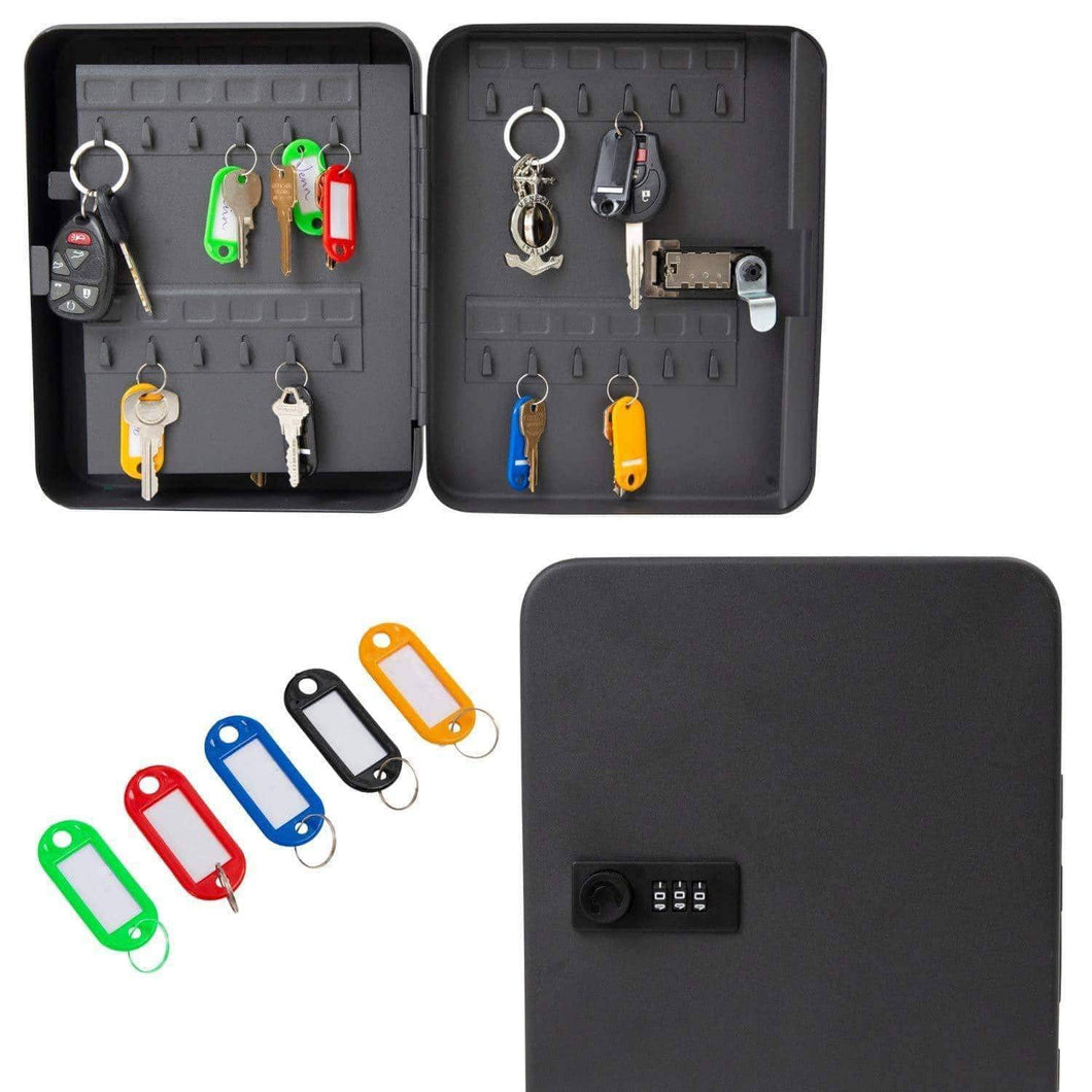 Purchase houseables key lock box lockbox cabinet wall mount safe 7 9 w x 9 9 l 48 tags black metal combination code locker storage organizer outdoor keybox closet for realtor real estate office