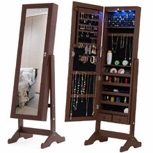 Load image into Gallery viewer, Top mecor jewelry armoire led standing mirrored jewelry cabinet organizer storage lockable full length mirror makeup box w 2 drawers 5 shelves 3 adjustable angle brown