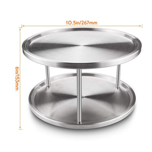Get starvast 2 pack 2 tier stainless steel lazy susan turntable 10 inch 360 degree lazy susan spice rack organizer for kitchen cabinet countertop centerpiece