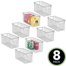 Load image into Gallery viewer, Organize with mdesign farmhouse decor metal wire food storage organizer bin basket with handles for kitchen cabinets pantry bathroom laundry room closets garage 12 x 6 x 6 8 pack chrome