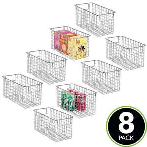 Organize with mdesign farmhouse decor metal wire food storage organizer bin basket with handles for kitchen cabinets pantry bathroom laundry room closets garage 12 x 6 x 6 8 pack chrome