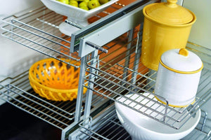 Shop rev a shelf 5psp 18 cr 18 in blind corner cabinet pull out chrome 2 tier wire basket organizer