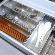 Load image into Gallery viewer, Cheap drawer insert cabinet cutlery tray storage catering utensils box stainless steel kitchen 6 compartments 47 228 46 2cm