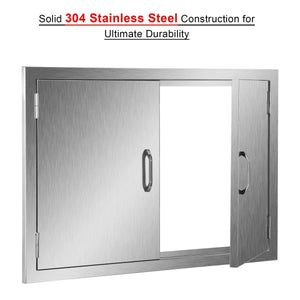 Explore co z outdoor kitchen doors 304 brushed stainless steel double bbq access doors for outdoor kitchen commercial bbq island grilling station outside cabinet barbeque grill built in 30 5w x 21h