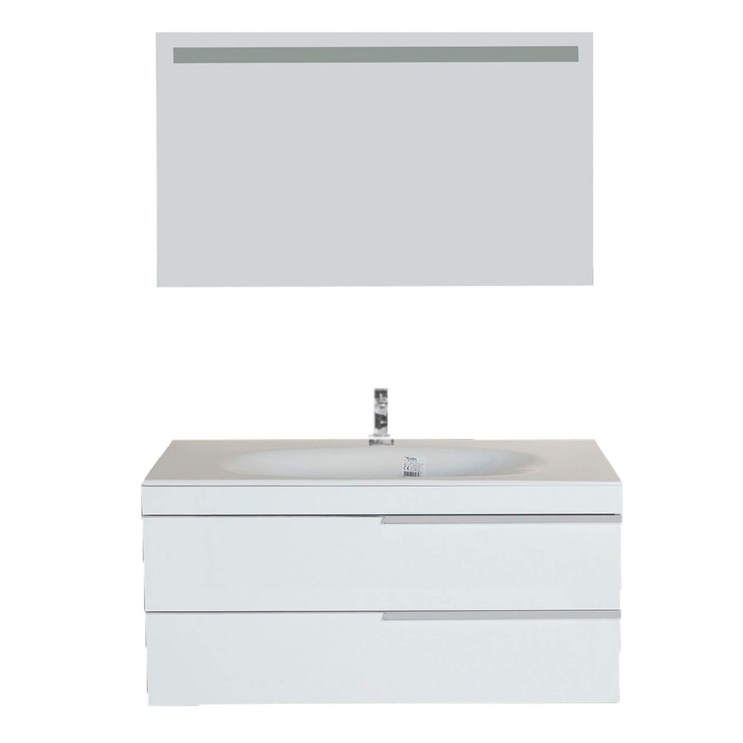 Top giallo rosso argento 48 inch bathroom vanity and sink combo with mirror contemporary design wall mount glossy white cabinet set single sink and double drawer
