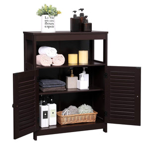 Best seller  vasagle bathroom storage floor cabinet free standing cabinet with double shutter door and adjustable shelf brown ubbc40br