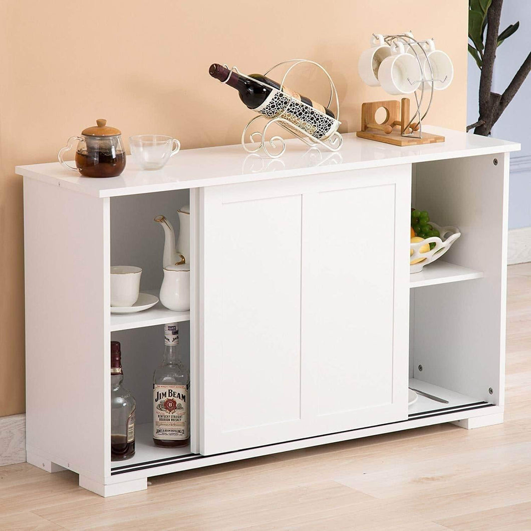 Amazon best mecor sideboards and storage cabinet white kitchen buffet cabinet server table with 2 sliding doors 1 shelf dining room furniture