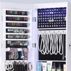 Online shopping gissar full length mirror jewelry cabinet 6 leds jewelry armoire wall mounted over the door hanging jewelry organizer storage with lights lockable white