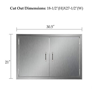 Discover the co z outdoor kitchen doors 304 brushed stainless steel double bbq access doors for outdoor kitchen commercial bbq island grilling station outside cabinet barbeque grill built in 30 5w x 21h