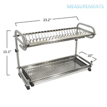 Load image into Gallery viewer, Discover the 23 2 kitchen dish rack 2 tier stainless steel cabinet rack wall mounted with drainboard set dish bowl cup holder 23 2 inch