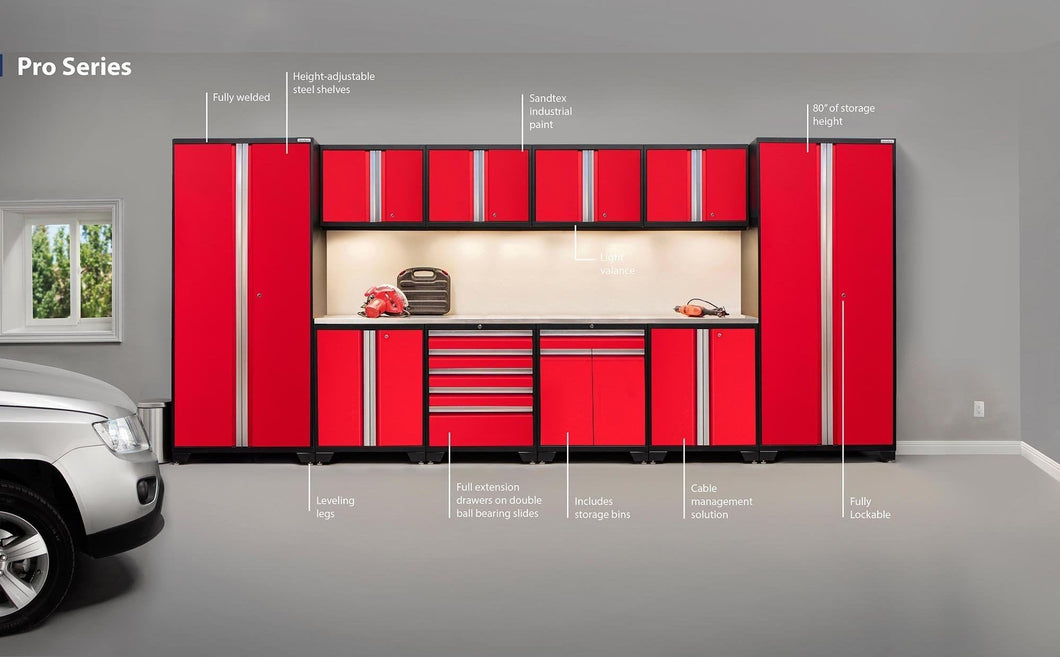 Shop here newage products 52354 pro 3 0 cabinetry set with stainless steel worktop red
