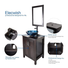 Load image into Gallery viewer, The best elecwish usba20090 usba20077 bathroom vanity and sink combo stand cabinet and tempered blue glass vessel sink orb faucet and pop up drain mirror mounting ring