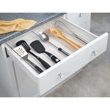 Load image into Gallery viewer, Try mdesign adjustable expandable 4 compartment kitchen cabinet drawer organizer tray divided sections for cutlery serving cooking utensils gadgets bpa free food safe 3 deep pack of 2 clear