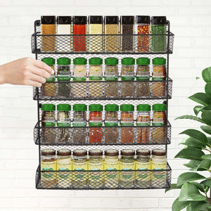 Best bbbuy 4 tier spice rack organizer wall mounted country rustic chicken holder large cabinet or wall mounted wire pantry storage rack great for storing spices household stuffs