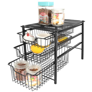 Discover 3s sliding basket organizer drawer cabinet storage drawers under bathroom kitchen sink organizer tier black