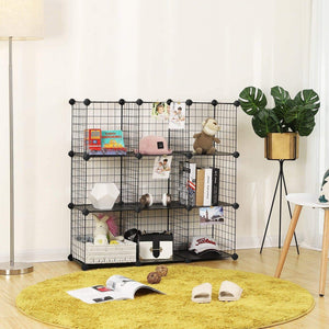 Budget songmics metal wire cube storage 9 cube shelves organizer stackable storage bins modular bookcase diy closet cabinet shelf 36 6l x 12 2w x 36 6h black ulpi115h