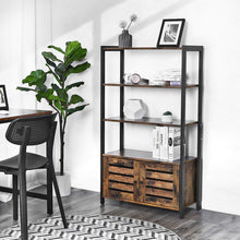 Load image into Gallery viewer, Discover the vasagle industrial storage cabinet bookshelf bookcse bathroom floor cabinet with 3 shelves and 2 shutter doors in living room study bedroom multifunctional rustic brown ulsc75bx