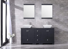 Load image into Gallery viewer, Order now sliverylake 60 bathroom vanity and sink combo bathroom cabinet black countertop sink bowl w mirror set ceramic vessel black trapeziform