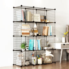 Load image into Gallery viewer, Buy tespo wire cube storage shelves book shelf metal bookcase shelving closet organization system diy modular grid cabinet 12 cubes