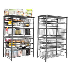 Load image into Gallery viewer, Buy now 3s sliding basket organizer drawer cabinet storage drawers under bathroom kitchen sink organizer tier black