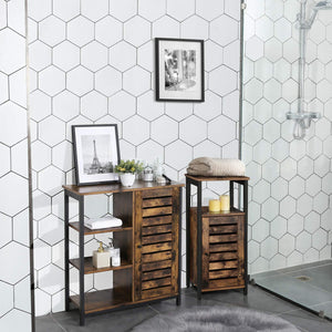 Shop here vasagle industrial bathroom storage cabinet end table storage floor cabinet with shelf multifunctional in living room bedroom hallway rustic brown ulsc34bx