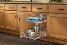 Load image into Gallery viewer, Top rev a shelf 5wb2 1522 cr 15 in w x 22 in d base cabinet pull out chrome 2 tier wire basket