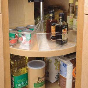 Buy now interdesign plastic lazy susan cabinet storage bin 1 8 wedge container for kitchen pantry counter bpa free 10 25 x 9 5 x 4 set of 4 clear