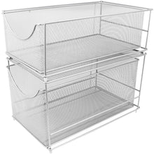 Load image into Gallery viewer, Save on sorbus cabinet organizer set mesh storage organizer with pull out drawers ideal for countertop cabinet pantry under the sink desktop and more silver two piece set