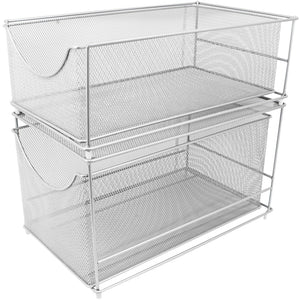 Save on sorbus cabinet organizer set mesh storage organizer with pull out drawers ideal for countertop cabinet pantry under the sink desktop and more silver two piece set