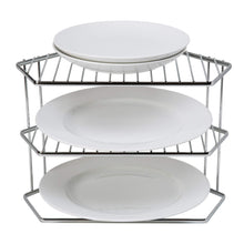 Load image into Gallery viewer, Shop here kitchen details geode corner cabinet helper shelf space saver more shelving works for plates bowls dishes mugs glasses chrome