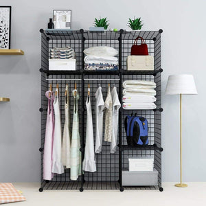 Storage unicoo multi use diy 12 cube wire grid organizer bookcase bookshelf storage cabinet wardrobe closet toy organizer wire cube storage black wire