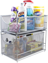 Load image into Gallery viewer, Purchase sorbus cabinet organizer set mesh storage organizer with pull out drawers ideal for countertop cabinet pantry under the sink desktop and more silver two piece set