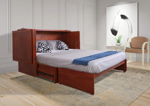Save on emurphybed com daily delight charging station gel infused mattress solid wood murphy cabinet chest bed queen cherry