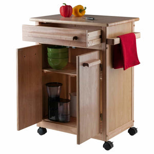 Discover the winsome wood single drawer kitchen cabinet storage cart natural