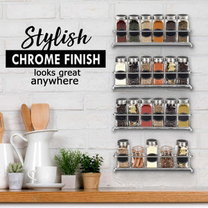 Purchase spice rack organizer for cabinet door mount or wall mounted set of 4 chrome tiered hanging shelf for spice jars storage in cupboard kitchen or pantry display bottles on shelves in cabinets