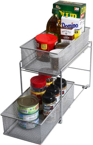Discover the best ybm home silver 2 tier mesh sliding spice and sauces basket cabinet organizer drawer 2304