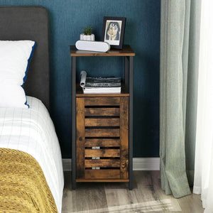 Storage vasagle industrial bathroom storage cabinet end table storage floor cabinet with shelf multifunctional in living room bedroom hallway rustic brown ulsc34bx