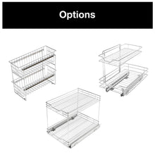 Load image into Gallery viewer, Results smart design 2 tier roll out under sink sliding organizer w mounting hardware medium steel metal holds 100 lbs cabinets cookware bakeware items kitchen 18 32 x 14 inch chrome