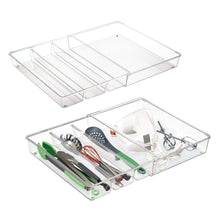 Load image into Gallery viewer, Top mdesign adjustable expandable 4 compartment kitchen cabinet drawer organizer tray divided sections for cutlery serving cooking utensils gadgets bpa free food safe 3 deep pack of 2 clear