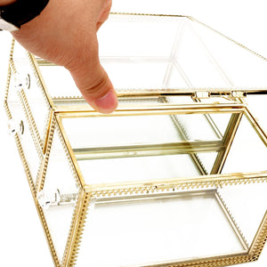 Discover the antique beauty display clear glass 3drawers palette organizer cosmetic storage makeup container 3cube hoder beauty dresser vanity cabinet decorative keepsake box