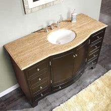 Load image into Gallery viewer, Save silkroad exclusive hyp 0703 t uwc 55 travertine top single white sink bathroom vanity with espresso cabinet 55 dark wood