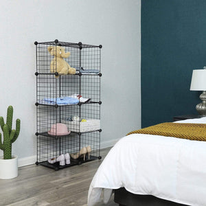 Best seller  songmics metal wire cube storage 9 cube shelves organizer stackable storage bins modular bookcase diy closet cabinet shelf 36 6l x 12 2w x 36 6h black ulpi115h