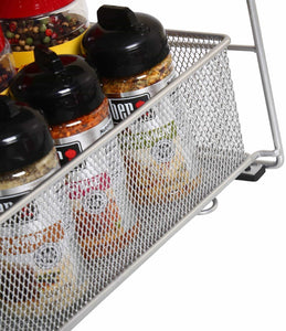 Discover ybm home silver 2 tier mesh sliding spice and sauces basket cabinet organizer drawer 2304