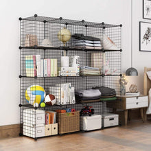 Load image into Gallery viewer, Save langria metal wire storage cubes modular shelving grids diy closet organization system bookcase cabinet 16 regular cube
