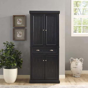 Shop crosley furniture seaside kitchen pantry cabinet distressed black