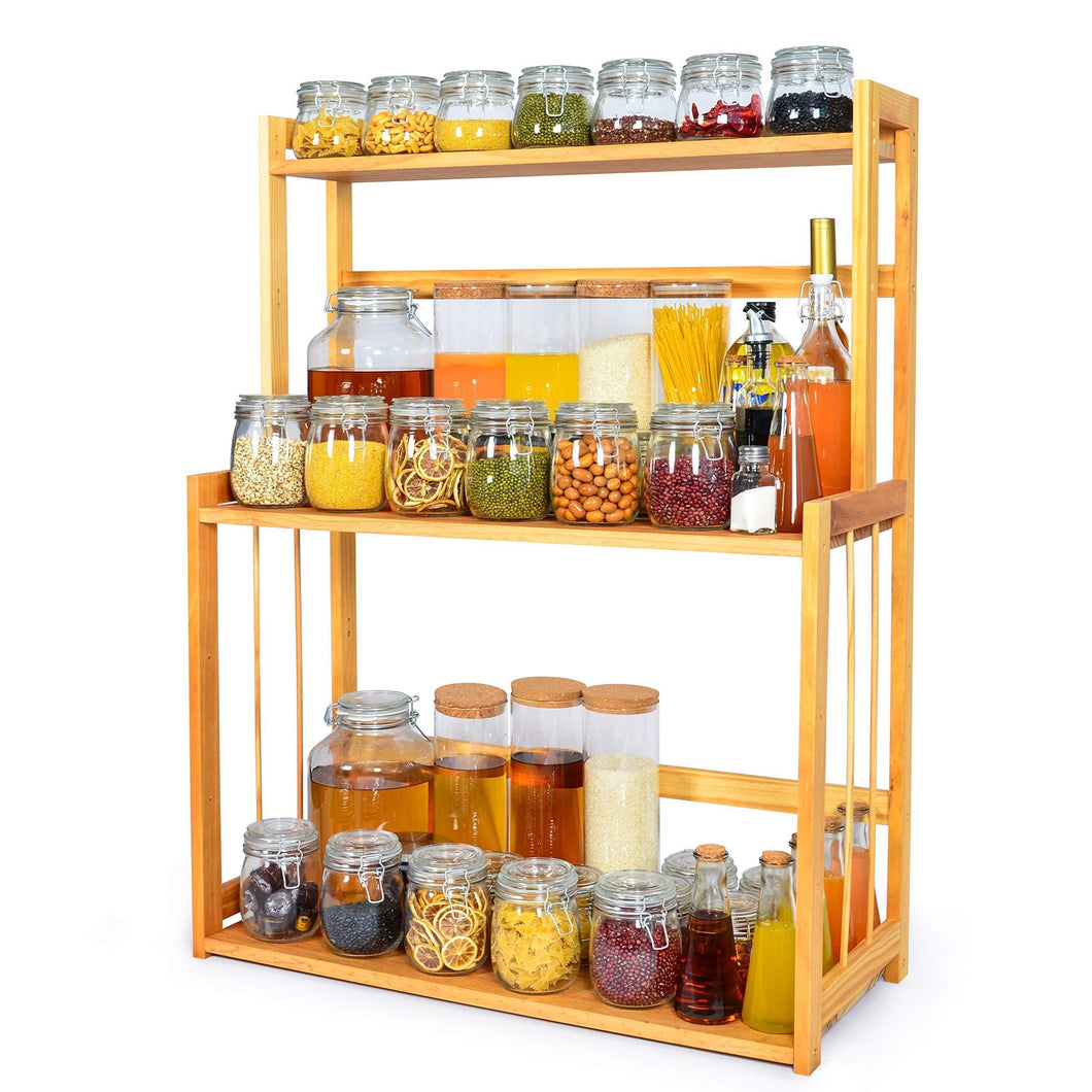 3-Tier Spice Rack Kitchen Bathroom Countertop Storage Organizer Rack, Bamboo Spice Bottle Jars Rack Holder with Adjustable Shelf,100% Natrual Bamboo
