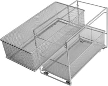Load image into Gallery viewer, Exclusive ybm home silver 2 tier mesh sliding spice and sauces basket cabinet organizer drawer 2304