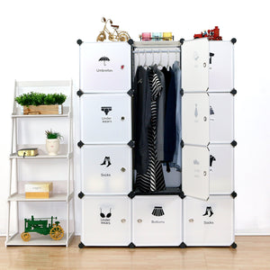Save unicoo multi use diy plastic 12 cube organizer toy organizer bookcase storage cabinet wardrobe closet white with door sticker deeper cube white
